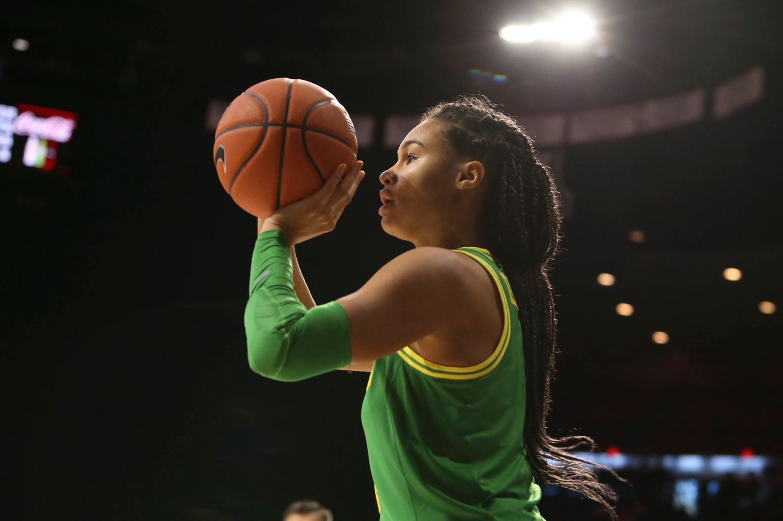 TUCSON, AZ - JANUARY 12: Oregon Ducks forward Satou Sabally (0) shoots the ball during a college women s basketball gam