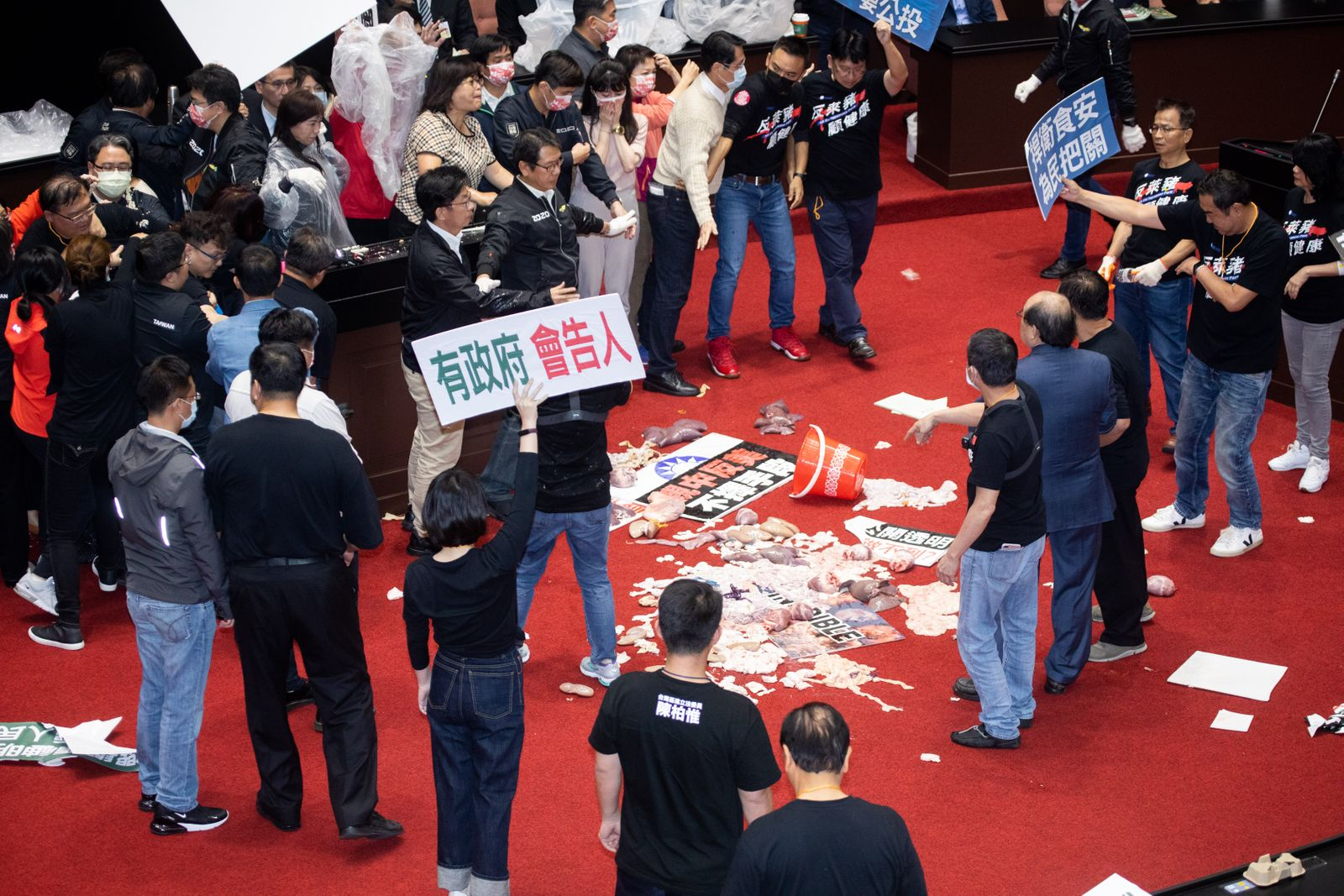 Protest Break Out In Taiwan Parliament Against U.S. Pork Imports - KMT Throws Pig Offal On The Podium