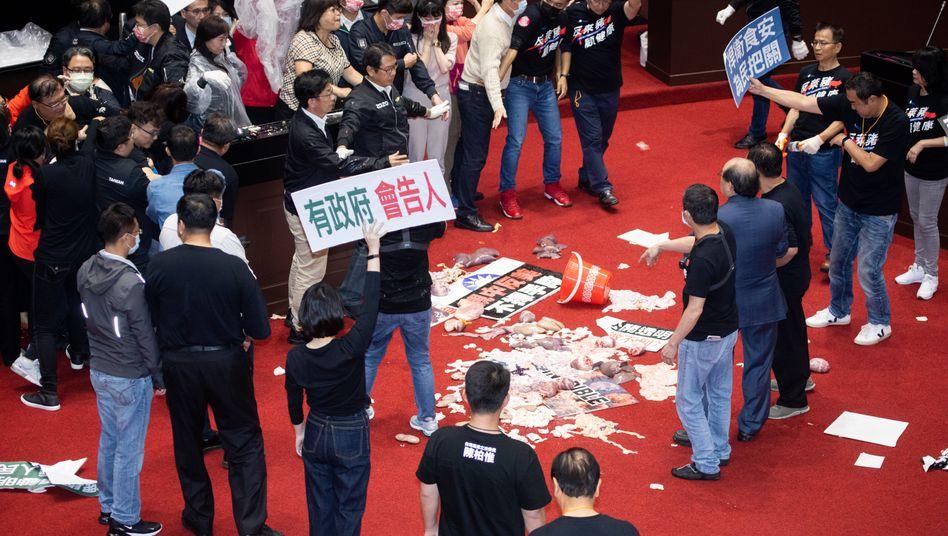 Protest in Taipei: Schweinedärme im Parlament