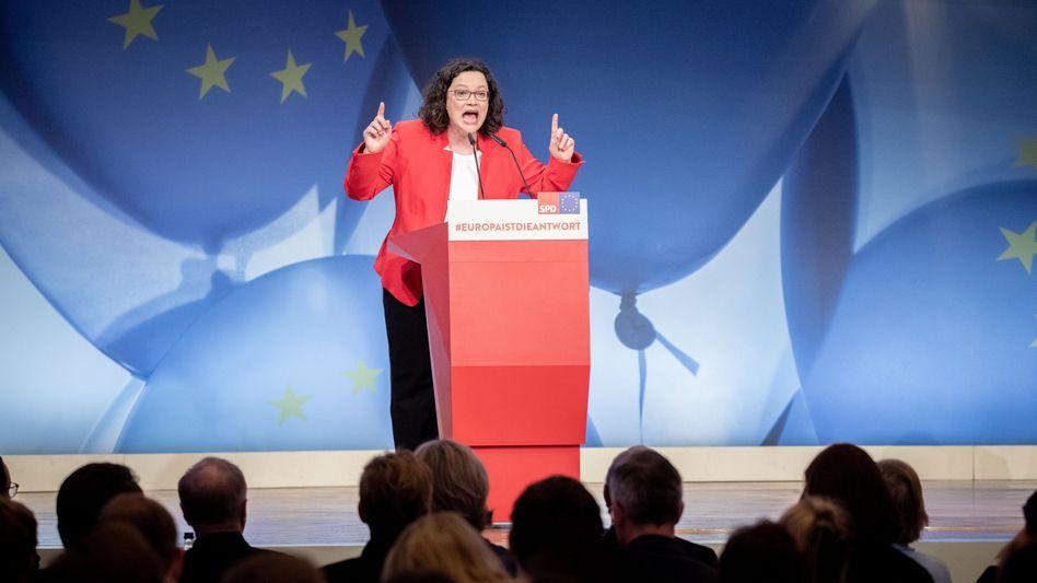 Andrea Nahles beim Europakonvent der SPD in Berlin
