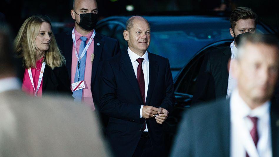 SPD-Kanzlerkandidat Olaf Scholz vor dem zweiten Kandidaten-Triell, 12. September 2021