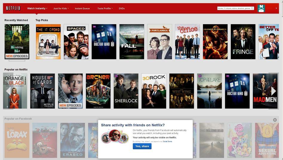 Startseite des Video-Streaming-Diensts Netflix: Großes Angebot, aber manchmal unvollständig