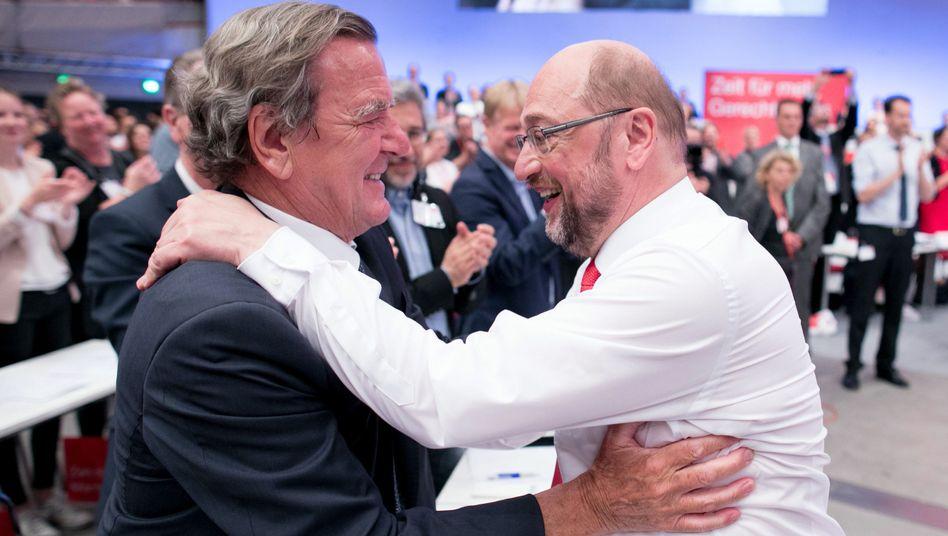 Former German Chancellor Gerhard Schröder together with SPD chancellor candidate Martin Schulz