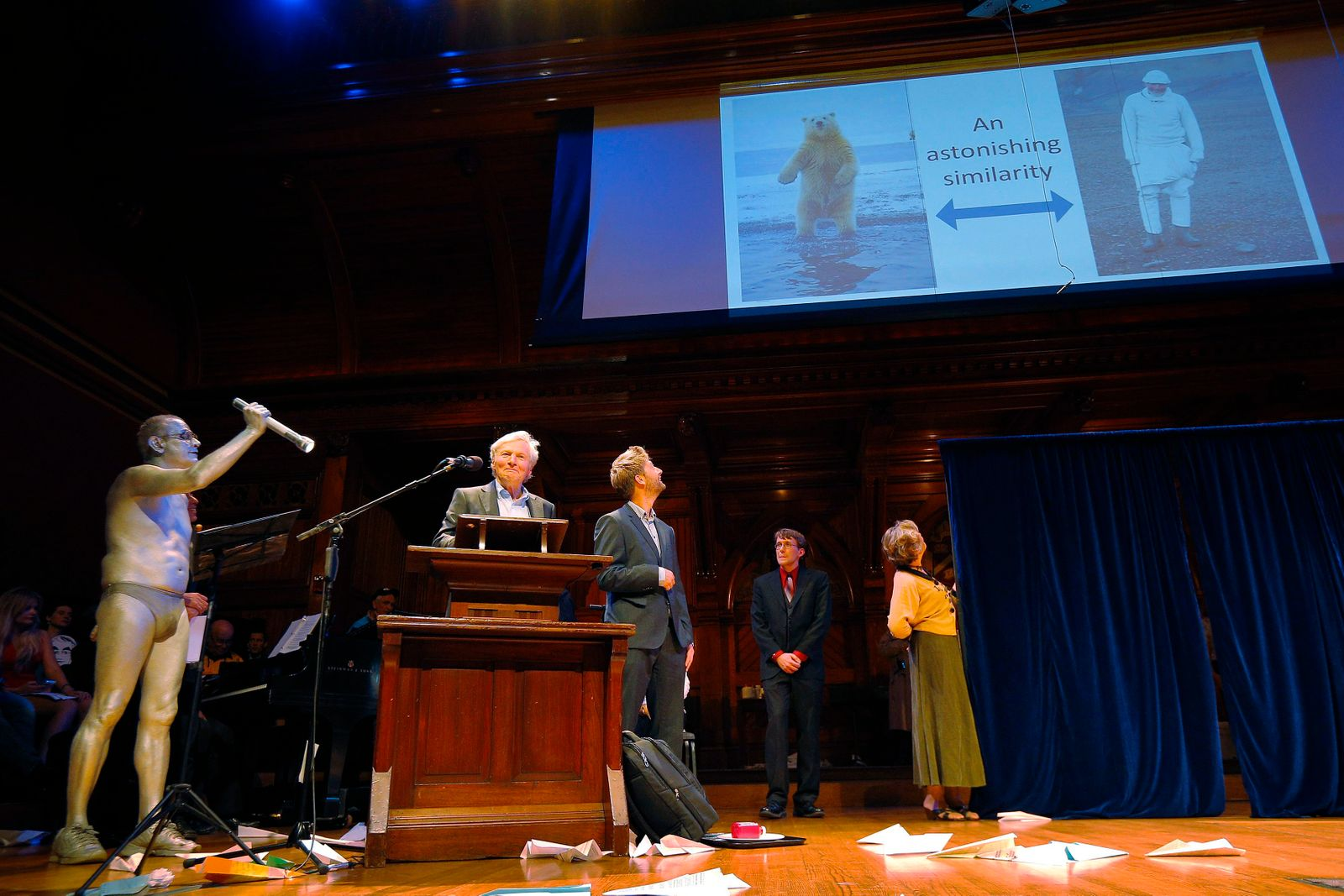 Reimers and Eftestol of Norway accept the Ig Nobel prize for Arctic Science at the 24th First Annual Ig Nobel Prizes awards ceremony at Harvard University in Cambridge