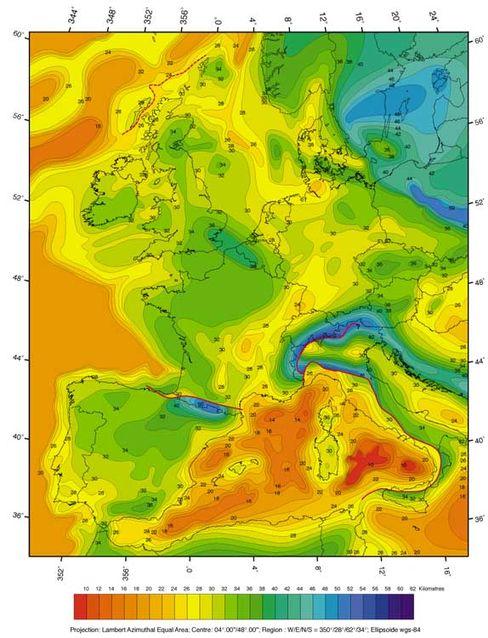 Mohorovicic- Diskontinuität: Die Grafik zeigt, wie tief die Grenze der Erdkruste in unterschiedlichen Regionen liegt