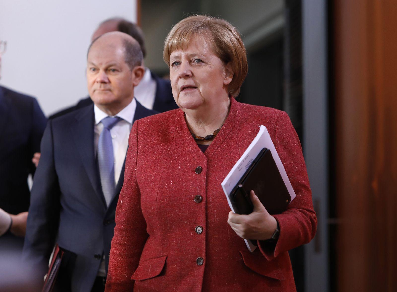 Finanzminister Olaf Scholz (SPD), Bundeskanzlerin Angela Merkel (CDU)