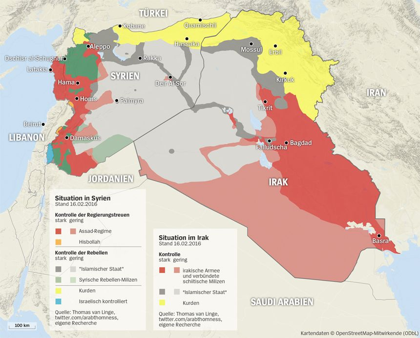 Grafik Karte Syrien + Irak - Stand 16.02.2016