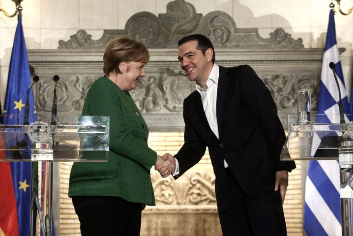 A reliable parter: German Chancellor Angela Merkal during her visit to Alexis Tsipras in Athens in January