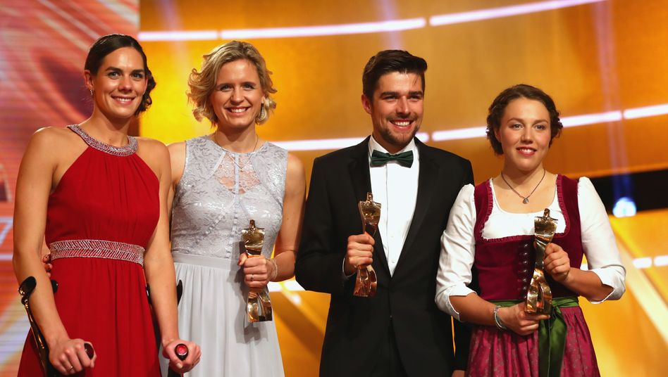 Kira Walkenhorst, Laura Ludwig, Johannes Rydzek und Laura Dahlmeier (v.l.n.r.)