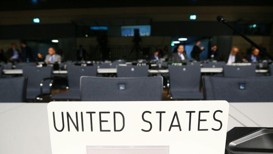 Leere Sitze der US-Delegation auf der Klimatagung in Bonn