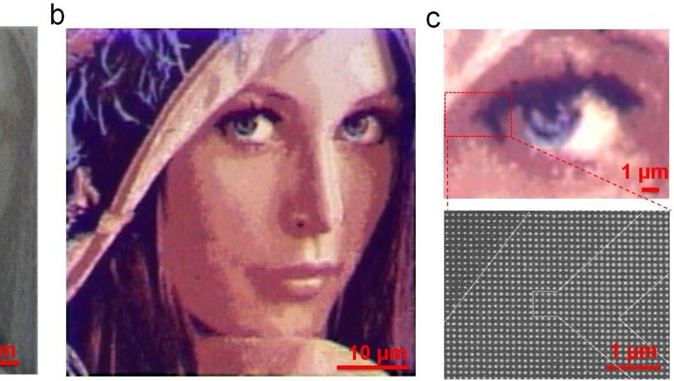 Lena im Mikroformat: Vor (a) und nach (b) dem Aufdampfen eines Silberfilms zeigt sich auf wenigen Mikrometern Breite oft zu Testzwecken verwendete Bild eines Playmates