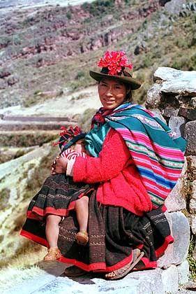 Mutter mit Kind: Die Nachfahren der Inka leben noch heute in Peru