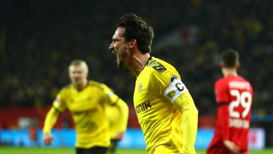 Beim Bundesligaspiel gegen Bayer Leverkusen: Mats Hummels von Borussia Dortmund