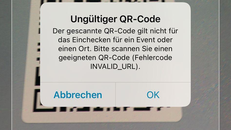 Beispielhafte Fehlermeldung der Corona-Warn-App: Luca-QR-Codes, die sich bereits im Umlauf befinden, kann die App nicht verarbeiten
