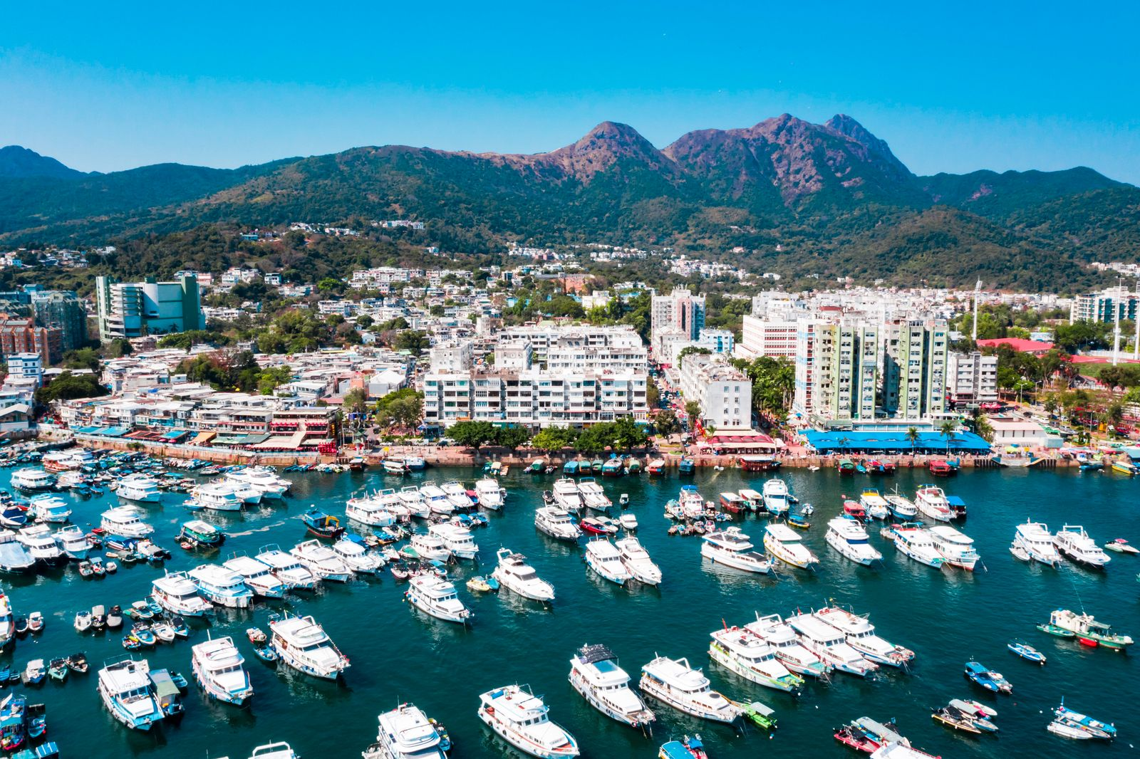 Aerial view of Hong Kong Sai Kung District from drone