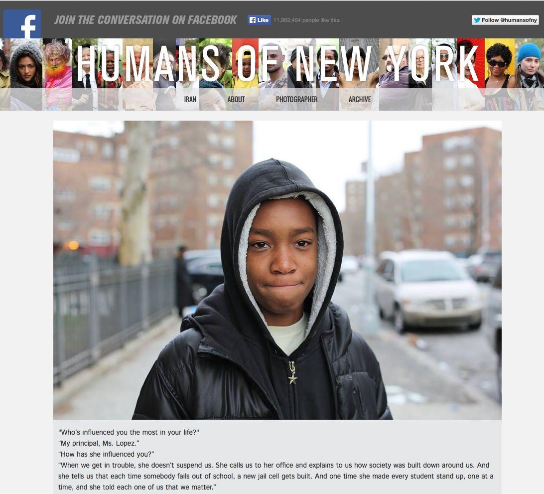 EINMALIGE VERWENDUNG Humans Of Newyork / Screenshot