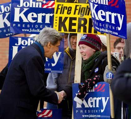 Favorit Kerry im Wahlkampf in New Hampshire: Dank an die unbezahlten Helfer