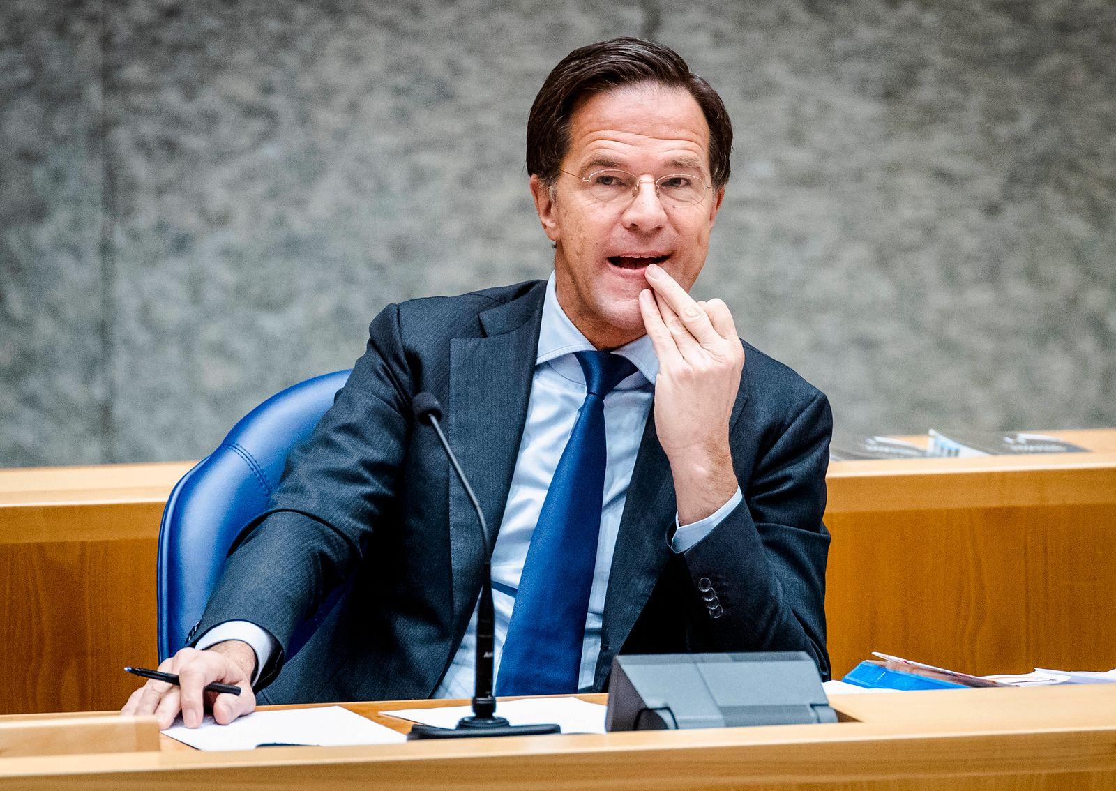 DEN HAAG - Premier Mark Rutte tijdens het debat over de ontwikkelingen rondom het coronavirus. De Tweede Kamer is terug