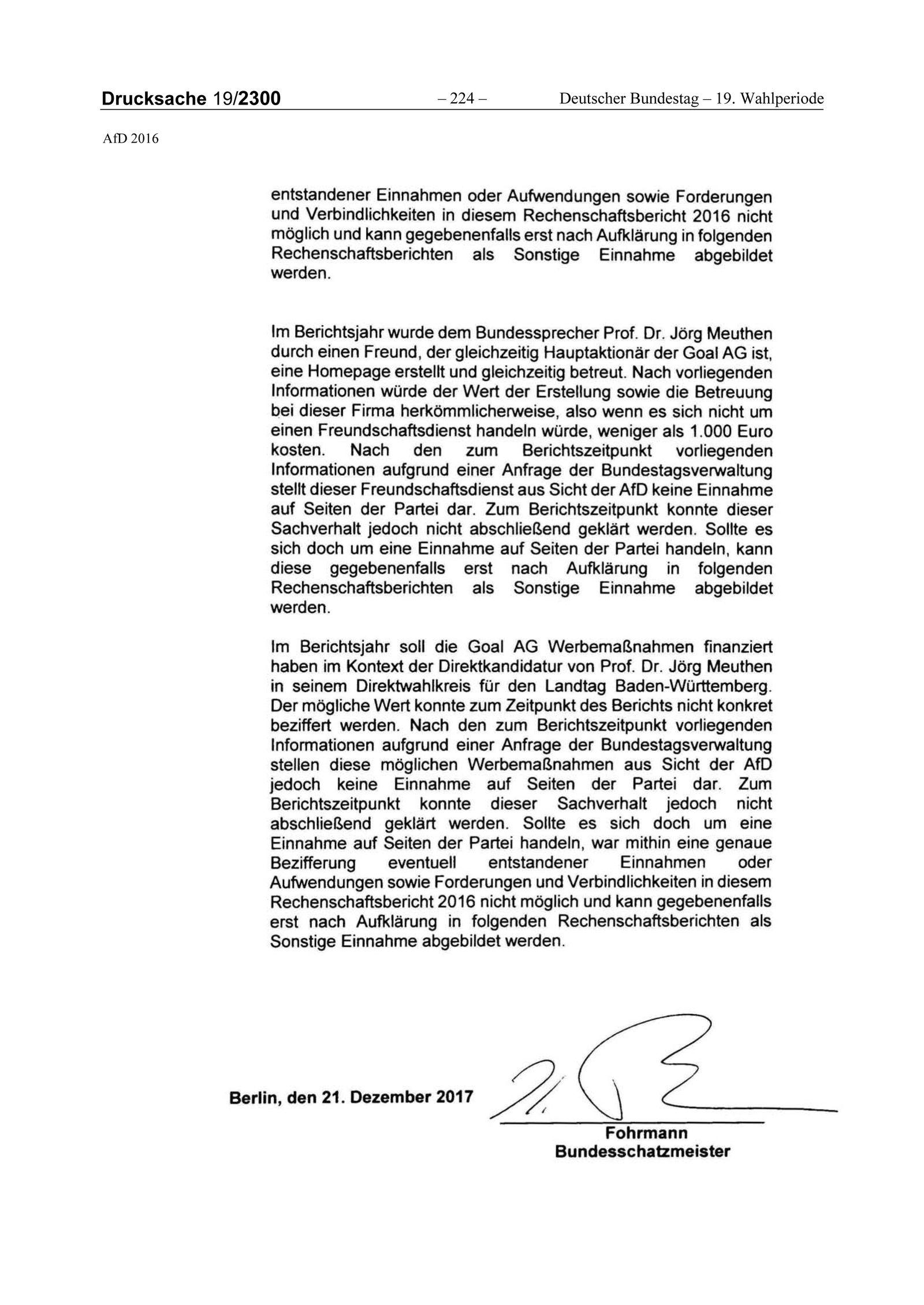EINMALIGE VERWENDUNG NUR ALS ZITAT Drucksache 19/2300