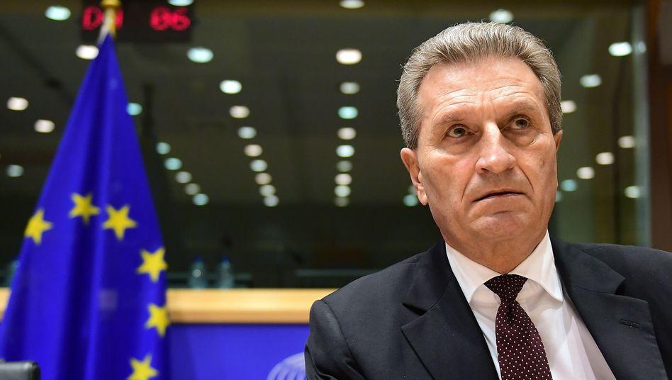 EU-Kommissar Günther Oettinger im Europaparlament