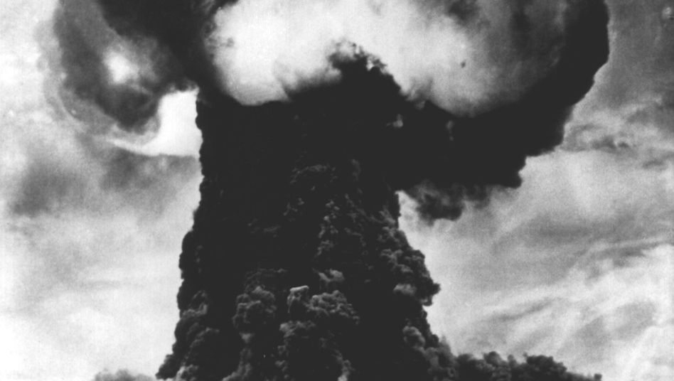 A mushroom cloud at the Semipalatinsk nuclear test site in 1949. Local residents received no advance warning of the blast.