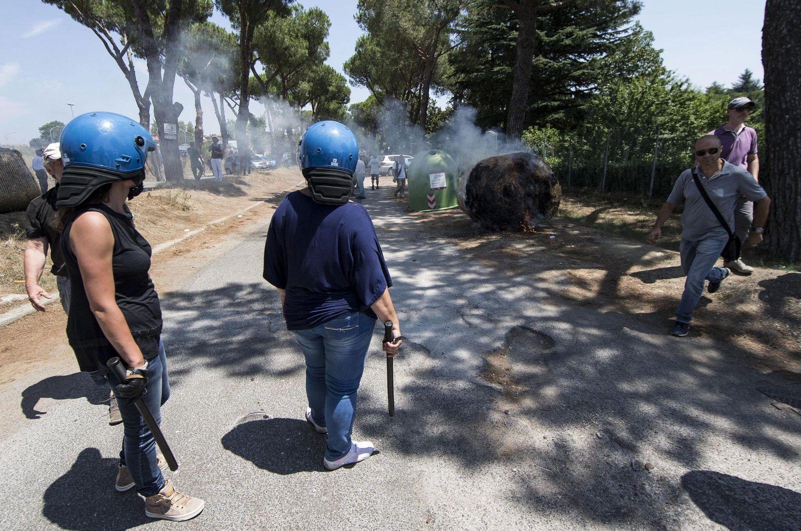 Itailen/ Rom/ Proteste gegen Flüchtlinge