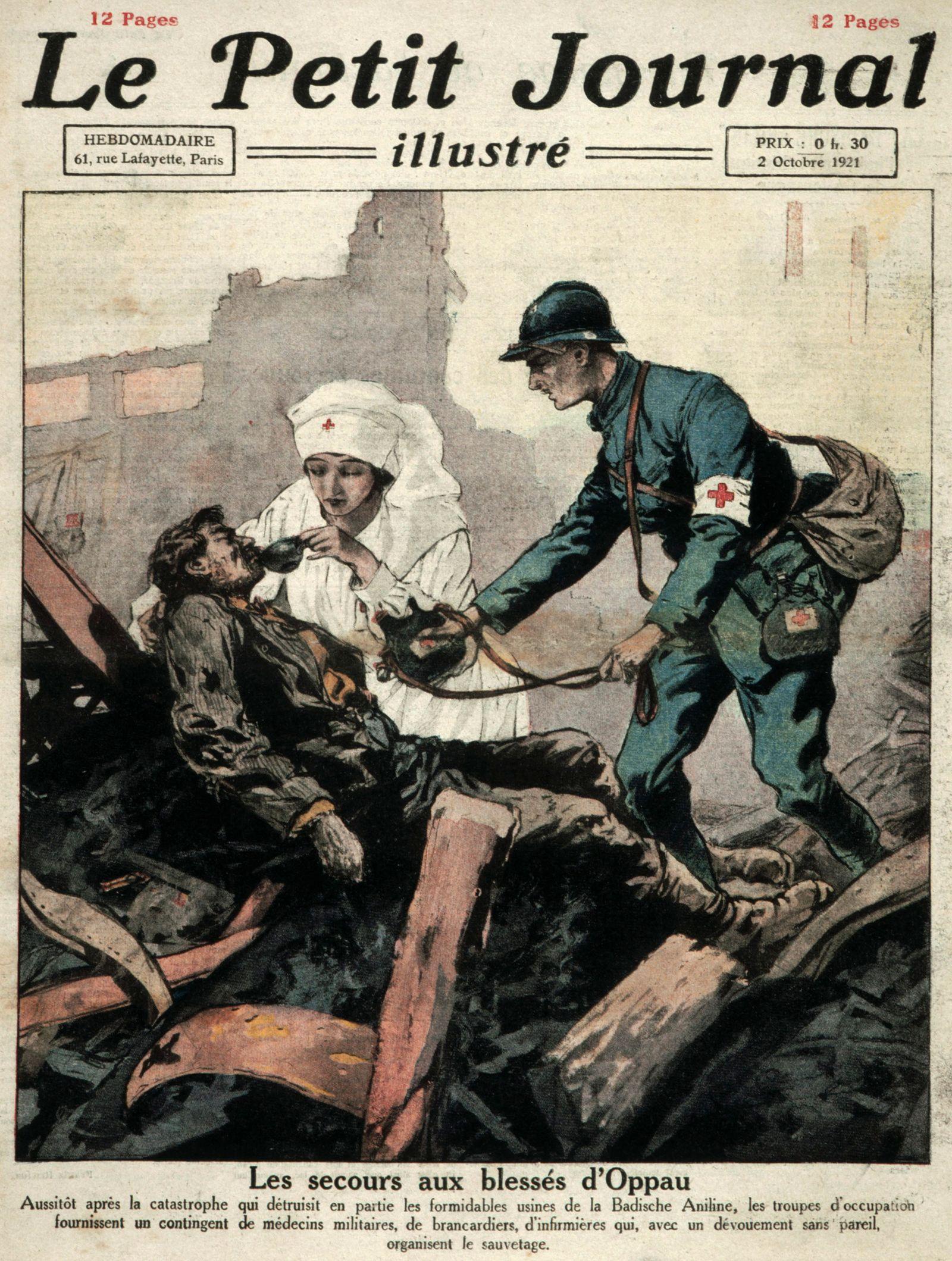 Usine Les secours aux blesses d Oppau : explosion d une usine chimique en Allemagne contenant 4000 tonnes de salpetres,