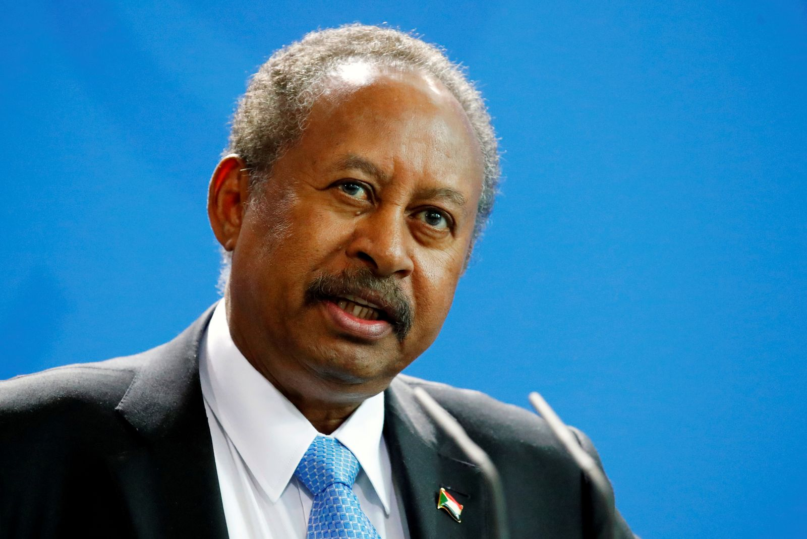 FILE PHOTO: Sudanese Prime Minister Abdalla Hamdok speaks at a news conference during a visit to Berlin, Germany