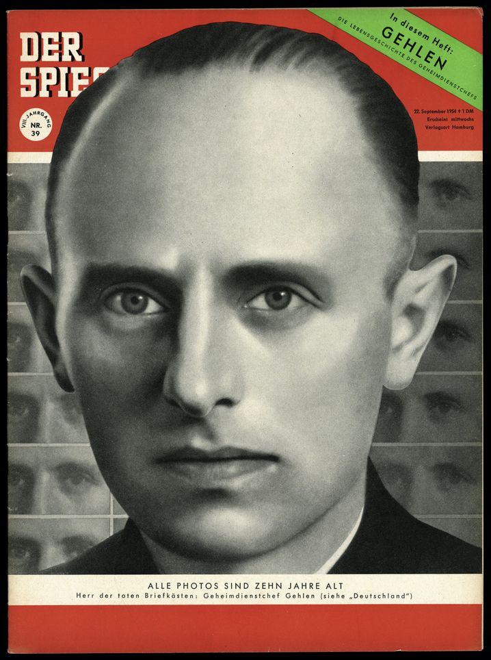 SPIEGEL-Titelbild 39/1954 mit Gehlen: Simulation eines funktionstüchtigen Geheimdienstes