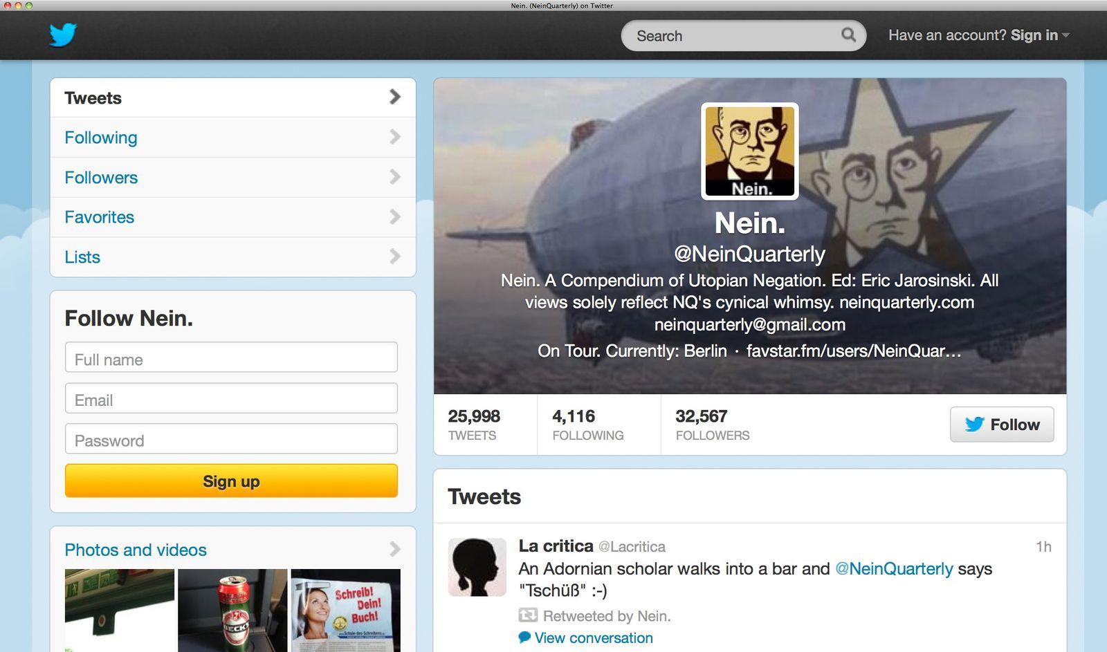 NUR ALS ZITAT Screenshot / Twitter / NEIN.