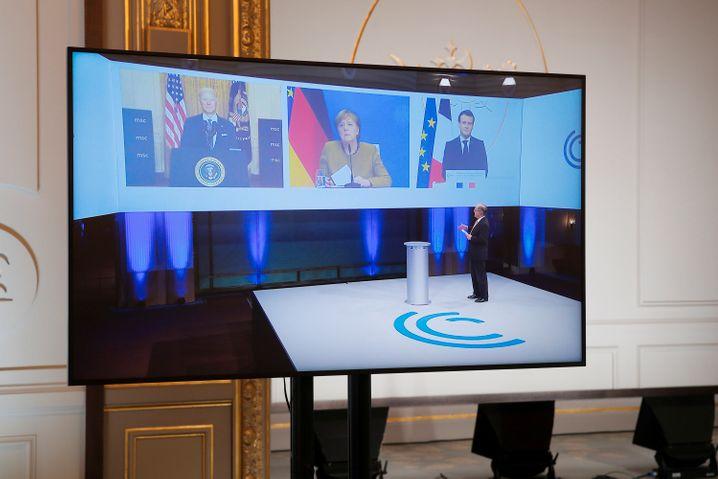 Konferenzleiter Wolfgang Ischinger mit seinen Stargästen Joe Biden, Angela Merkel und Emmanuel Macron