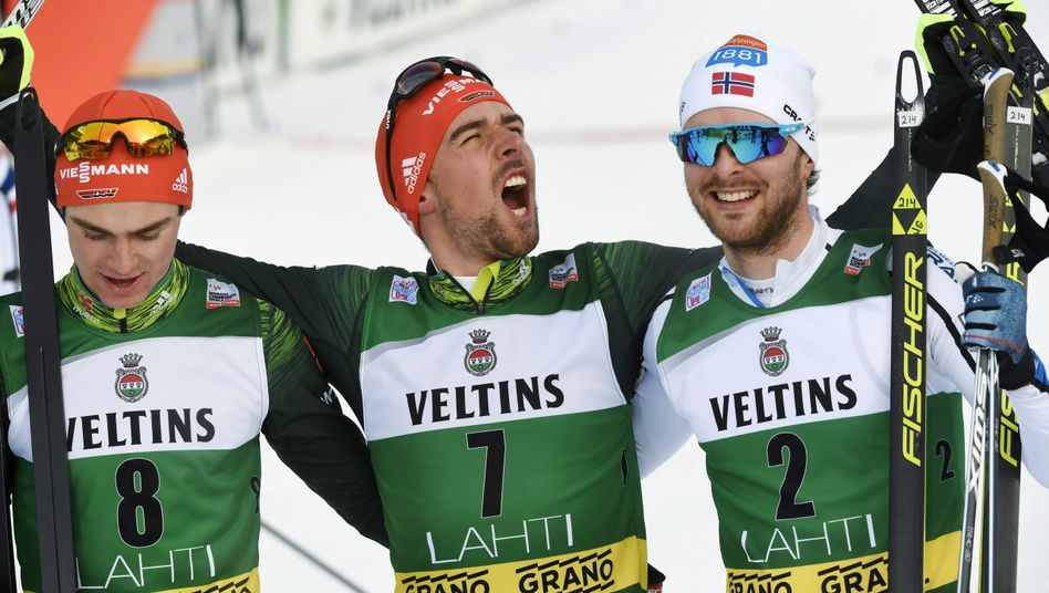 Vinzenz Geiger, Johannes Rydzek und Jørgen Gråbak (von links)