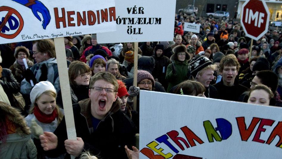 Island 2008: Überall im Land regt sich Protest gegen die Wirtschaftspolitik der Regierung