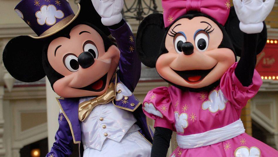Micky Maus und Minnie Maus im Disneyland: Sie tragen eh keinen Bart