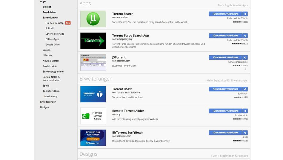 Chrome Web Store: Sperrgebiet für Torrent-Suchhilfen