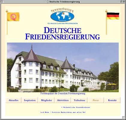 """Homepage der """"Deutschen Friedensregierung"""": Welterlösung aus dem Friedenspalast"""