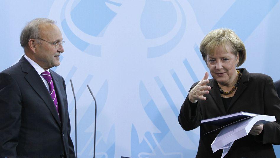"""Wirtschaftsweiser Franz, Kanzlerin Merkel: """"Im kritischen Dialog"""""""