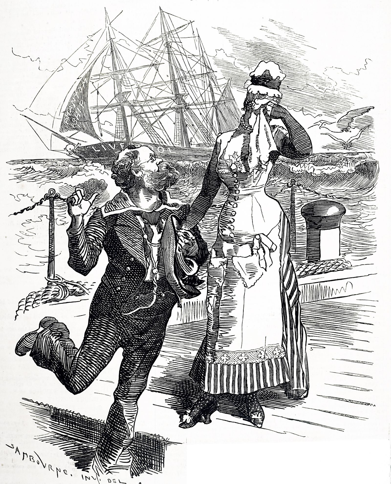 Cartoon commenting on the retirement of Samuel Plimsoll as MP for Derby a seat which he held from 1