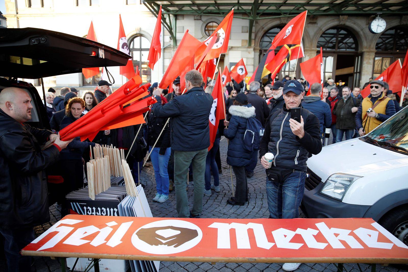 Chemnitz/ Demonstration/ Angela Merkel/ Heil Merkel Plakat
