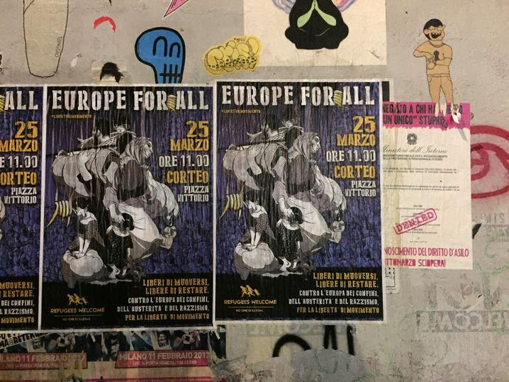 Plakat von EU-Befürwortern in Rom