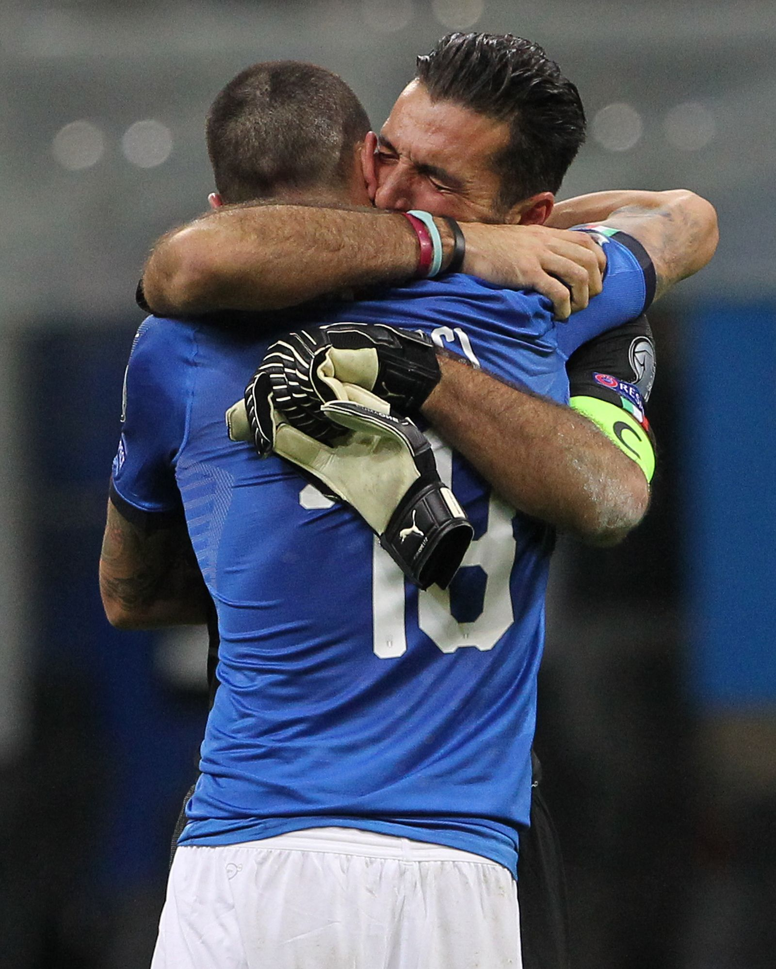 Gianluigi Buffon of Italy cries after loosing at the end of the FIFA 2018 World Cup Qualifier