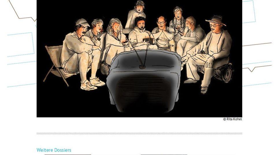 Sinnfällige Vocer-Illustration von Rita Kohel: Medien, mal von Nahem betrachtet