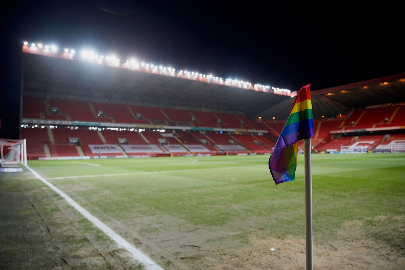 Charlton Athletic v Portsmouth Sky Bet League 1 Rainbow Corner Flags at the Valley for the Football v Homophobia month b