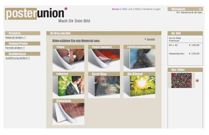 Poster-Union ist auf größere und repräsentative Formate spezialisiert. Außer eigenen Motiven kann man auch Bilder aus dem Pool von Panthermedia verwenden – kostenlos.