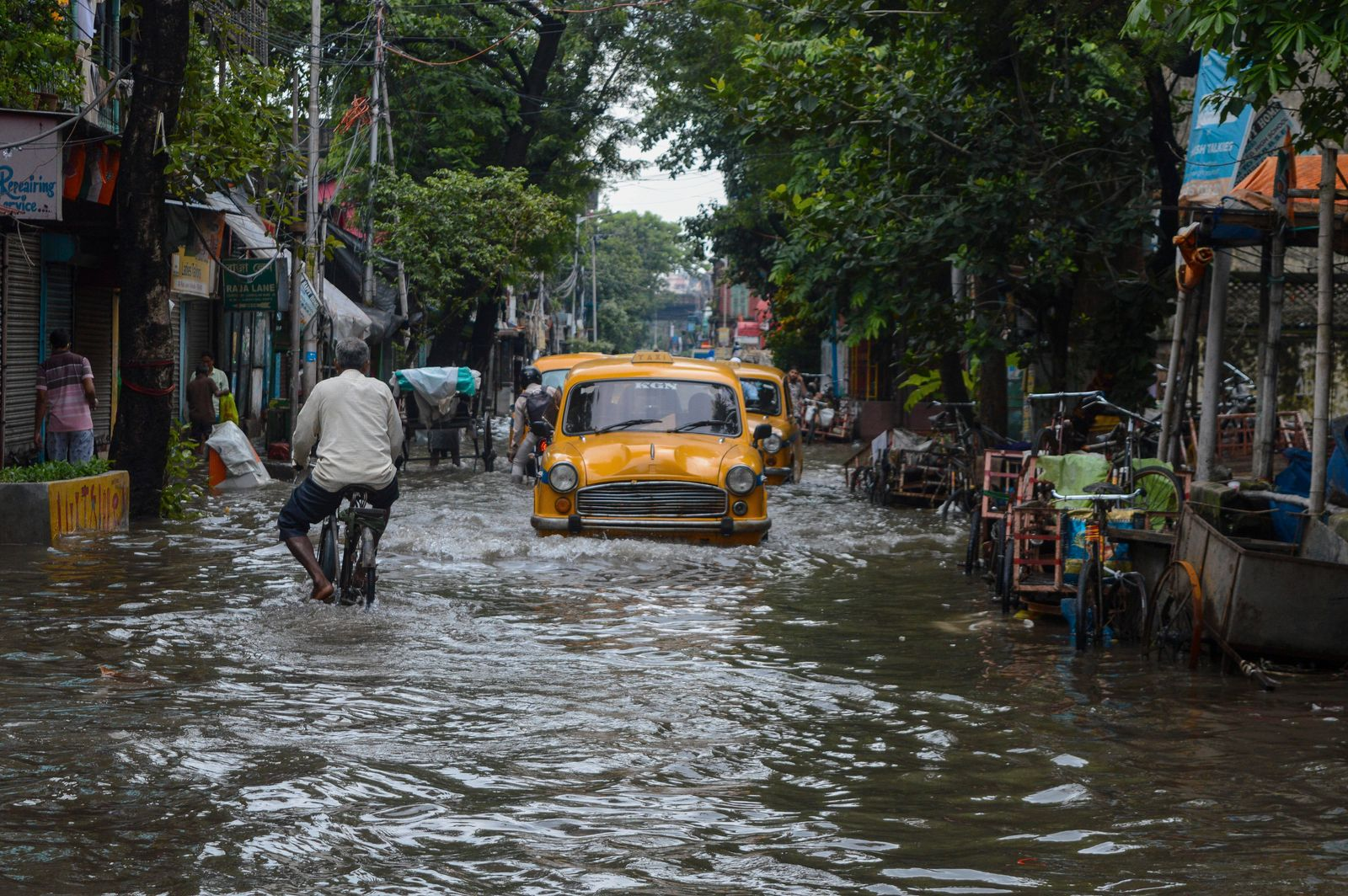 July 30, 2021, Kolkata, West bengal, India: A flooded road in Kolkata , India , on 30 July 202172 hours of continuous do