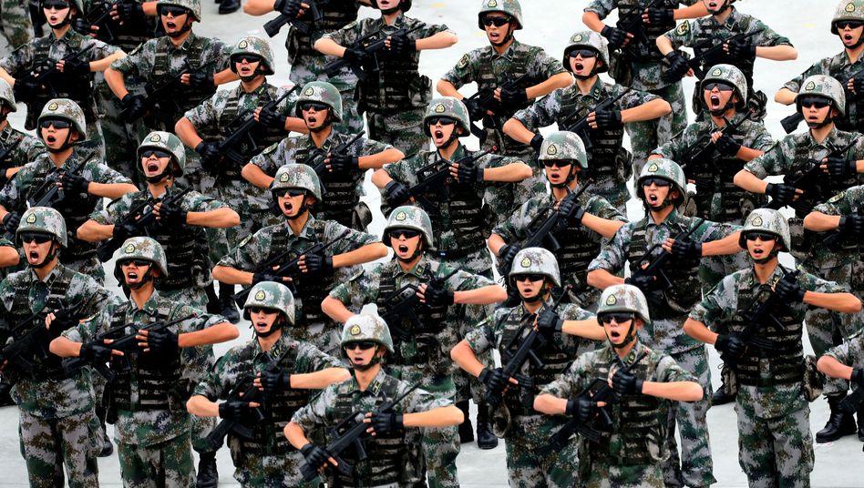 Chinesische Soldaten in der autonomen Region Xinjiang