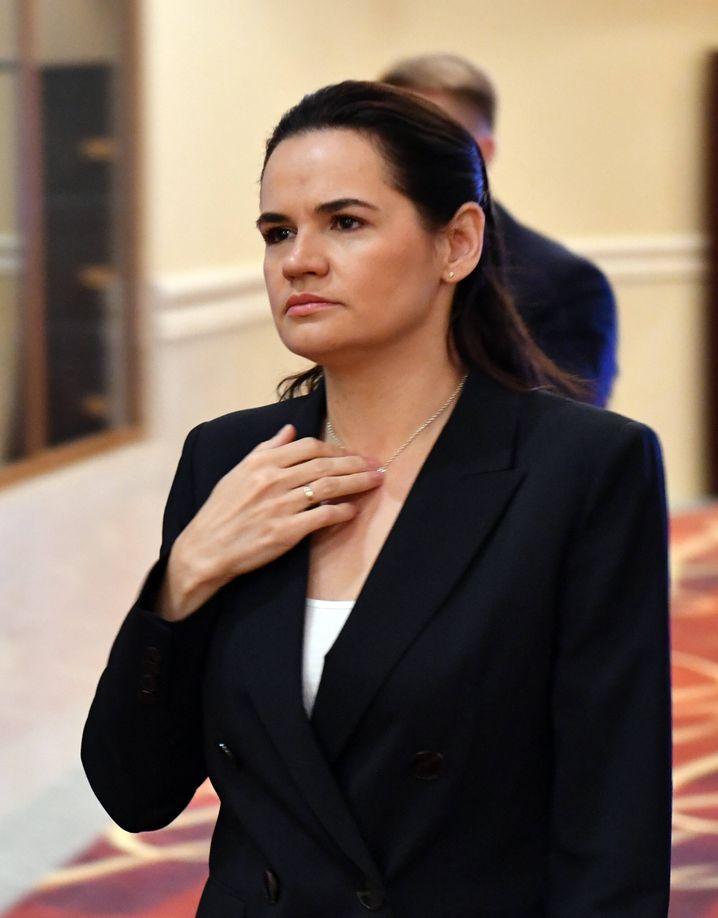 """Die belarussische OppositionsführerinSwetlana Tichanowskaja: """"Sie versuchen, uns vor die Wahl zu stellen"""""""