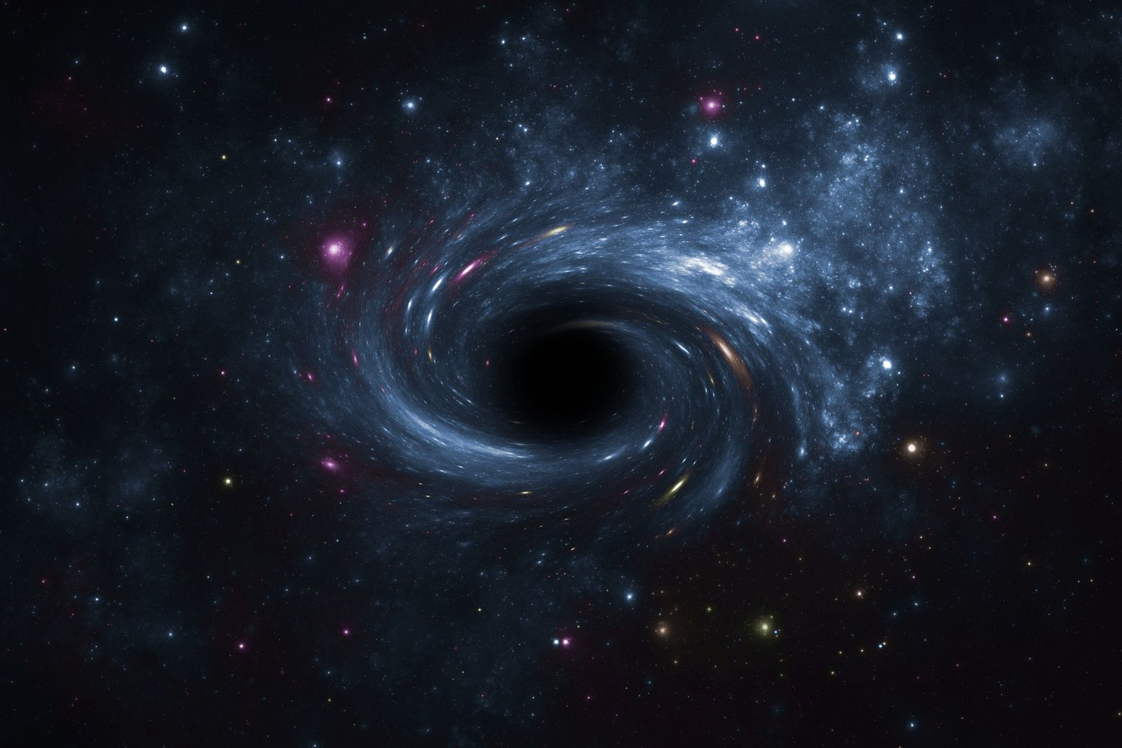 Deep space star field with black hole.