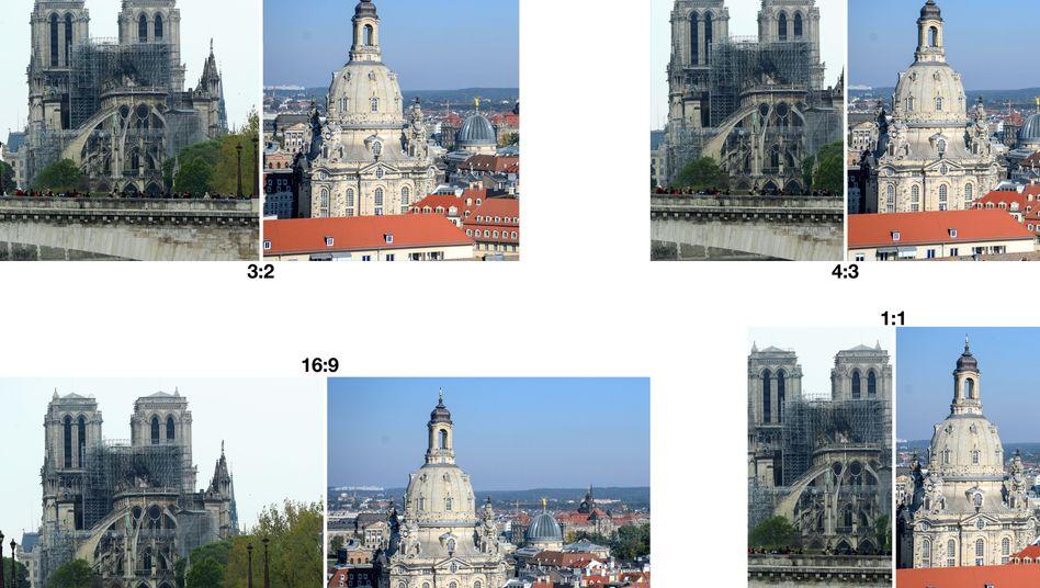Notre-Dame in Paris nach dem Brand (links), Frauenkirche in Dresden nach dem Wiederaufbau