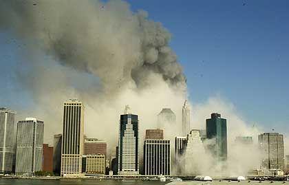 Die New Yorker Skyline nach den Einsturz der beiden World Trade Center Türme